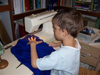 Daniel on Sewing machine