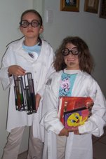 girls dressed as crazy scientists